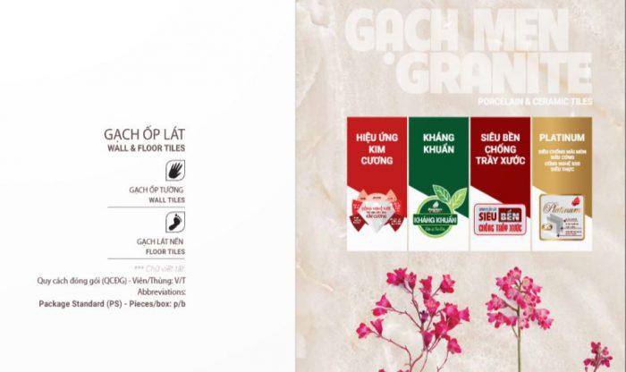 catalogue giới thiệu theo từng loại chất liệu: granite và ceramic