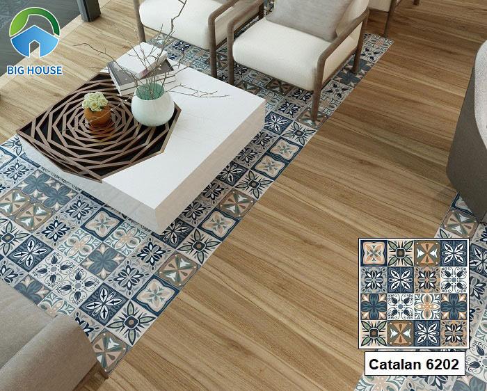 Nếu bạn yêu thích sự mới mẻ, sáng tạo với cách trang trí không gian muôn màu thì hãy tham khảo gạch Catalan 6202. Mẫu gạch này bạn còn có thể áp dụng lát nền dạng thảm cũng rất đẹp.