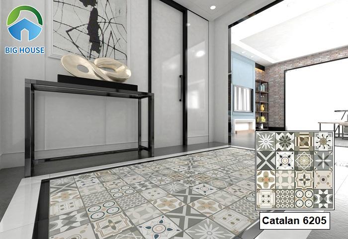 Hoặc mẫu gạch bông Catalan 6205 cũng là một sự gợi ý tuyệt vời. Sử dụng gạch ghép lại với nhau tạo thành gạch thảm trang trí không gian có sức hút lớn.