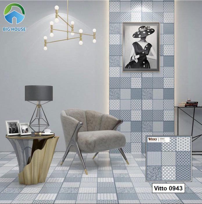 Hay bạn có thể sử dụng mẫu gạch bông Vitto 60x60 mã 0943 ốp lát với gam màu xanh pastel tươi mát. Họa tiết gạch nhỏ rất khác biệt tạo sự lôi cuốn cho không gian.