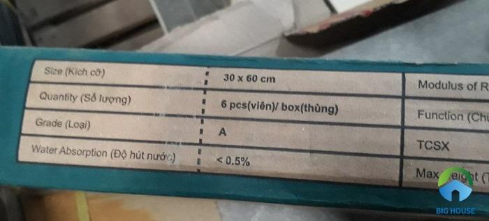 Gạch loại 1 có ký hiệu A, loại 2 có in ký hiệu B trên vỏ hộp