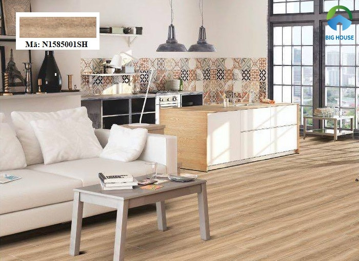 Mẫu gạch lát nền nhà vân gỗ Ý Mỹ N1585001SH có kích thước 15x80