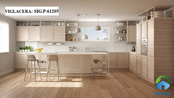 Gạch ốp tường bếp màu trắng vân đá Viglacera SIG.P-61205