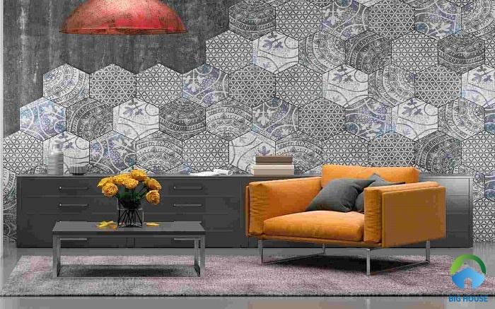 Gạch lục giác gam màu xám cho phòng khách