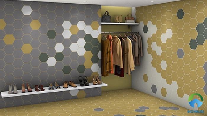 Kết hợp nhiều mẫu gạch với các màu sắc khác nhau ốp lát phòng ngủ