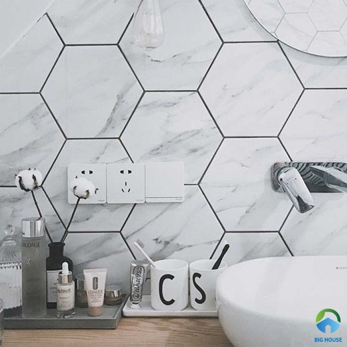 Mẫu gạch trang trí 6 cạnh giả đá marble cho phòng tắm