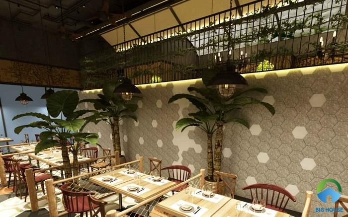 Ốp tường quán ăn với gạch trang trí màu kem