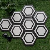 Gạch lục giác đen trắng 23005