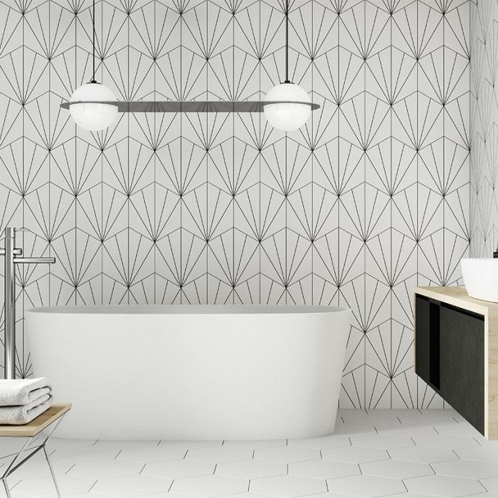 gạch lục giác màu trắng ốp nhà tắm