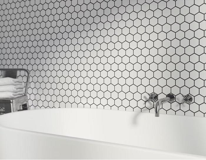 vỉ mosaic lục giác trắng mạch đen